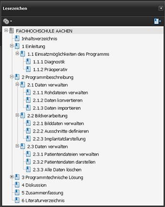 Darstellung der PDF Dokumentenstruktur