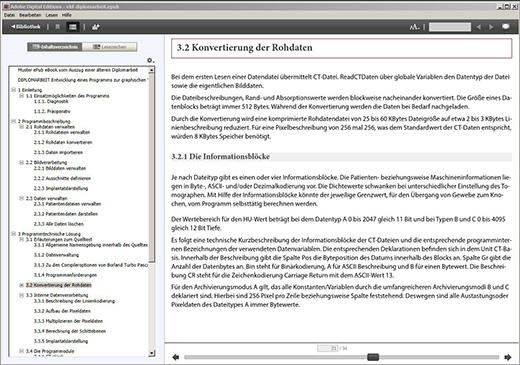Darstellung der Dokumentenstruktur des ePub eBooks