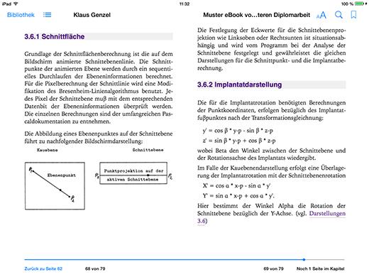 Apple iPad Darstellung der Diplomarbeit mit Steuerung des Seitenumbruchs und Hyperlinks zu Kapitel 3.6 sowie dem Inhaltsverzeichnis des ePub eBooks