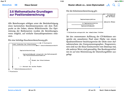 """Darstellung des Apple iPads von der Diplomarbeit mit """"Neuer Seite"""" zum Kapitelbeginn und Steuerung des Seitenumbruch zur Verhinderung von Schusterjungen"""