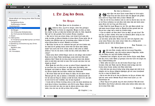 Darstellung des erstellten Inhaltsverzeichnisses mit den ausgezeichneten Hyperlinks zu den Überschriften mittels Adobe Digital Edition