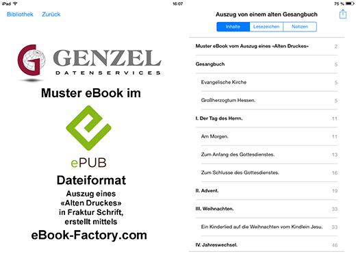 Darstellung der erfassten Dokumentenstruktur entsprechend der vorliegenden Überschriftengliederung des Gesangbuches mittels Apple iPad