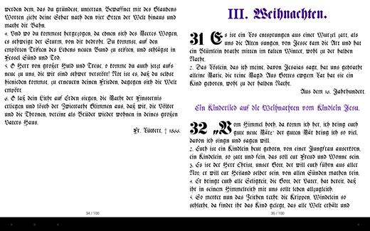 Darstellung im Original Layout des Altes Druckes mit Überschriften, Initialen und Randziffern mit den rückführenden Hyperlinks zum Inhaltsverzeichnis mittels Android Gitden eBook Reader App
