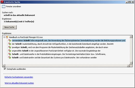 Komfortable Volltextsuche innerhalb der PDF Datei