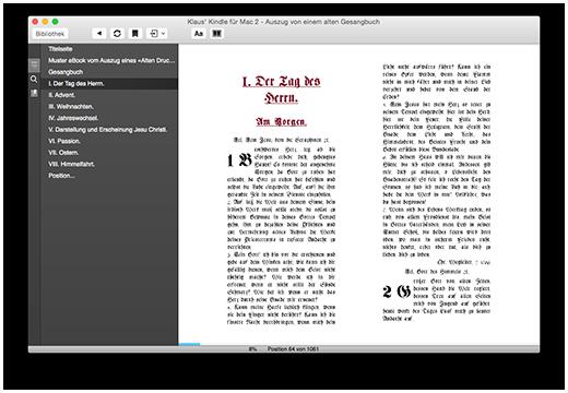 Darstellung der erfassten Dokumentenstruktur entsprechend der vorliegenden Überschriftengliederung des Gesangbuches