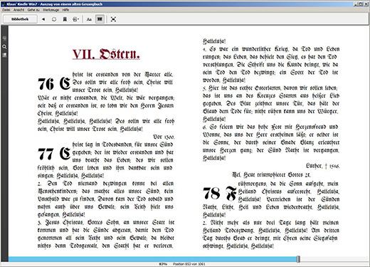 Darstellung im Original Layout des Altes Druckes mit Kapitel Überschrift auf einer neuen Seite und rückführenden Hyperlinks zum Inhaltsverzeichnis mittels Windows Kindle Reader